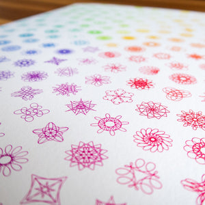 Spirograph Phyllotaxis Grid — Rainbow — (A3)