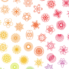 Load image into Gallery viewer, Spirograph Phyllotaxis Grid — Rainbow — (A3)