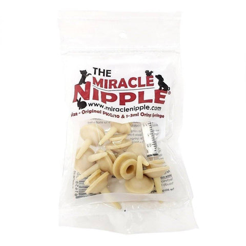 Miracle Nipple Original Pkg-10 - Includes 1- 3ml Oring Syringe - Lifeline Pet Supplies