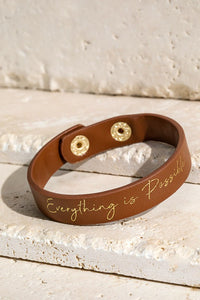 """Everything is Possible"" Faux Leather Bracelet"