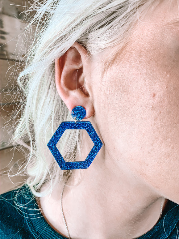 Sparkle Hexagon Earrings