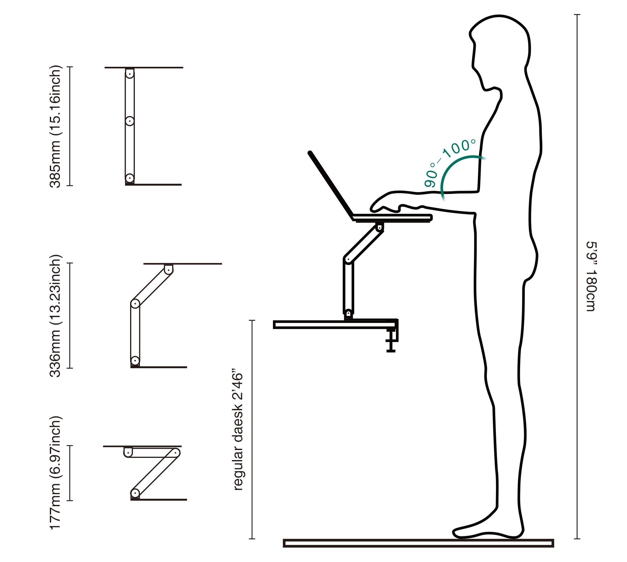 Adjustable standing stand for laptop