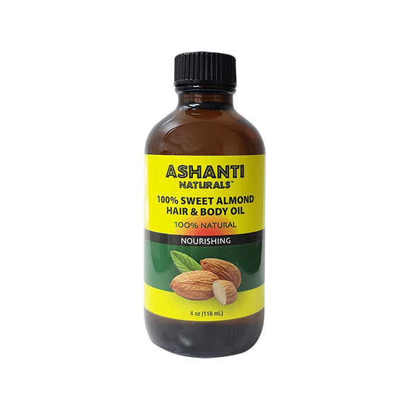 Ashanti Naturals 100% Sweet Almond Hair & Body Oil 4oz