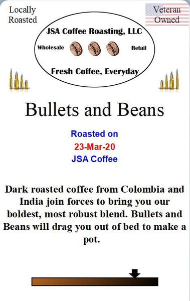 Bullets and Beans Coffee - 1 lb ground beans - Local Food to Your Doorstep
