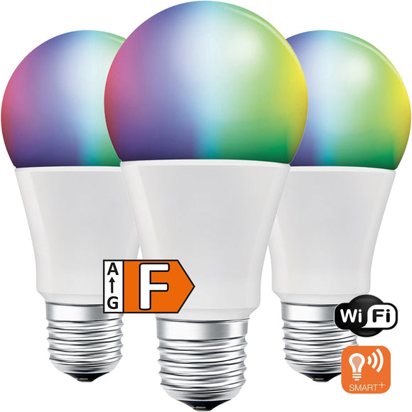 LED-E27 9W=60W | 806lm | RGBW+CCT | Matt | dimmbar | WiFi | 3er Pack | Ledvance SMART+