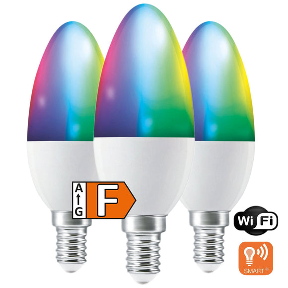 LED-E14 5W=40W | 470lm | RGB+CCT | Matt | dimmbar | WiFi | 3er Pack | Ledvance SMART+