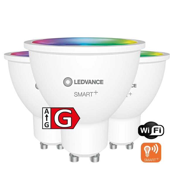 LED-GU10 5W=50W | 350lm | RGB+CCT | Matt | dimmbar | WiFi | 3er Pack | Ledvance SMART+