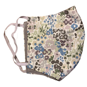 Face Mask-Flowers in Pink, Blue and Brown