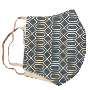 Face Mask-Geometric Pattern on Blueish Grey