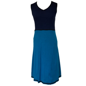 Simple Dress-Navy & Teal w/Black Trim