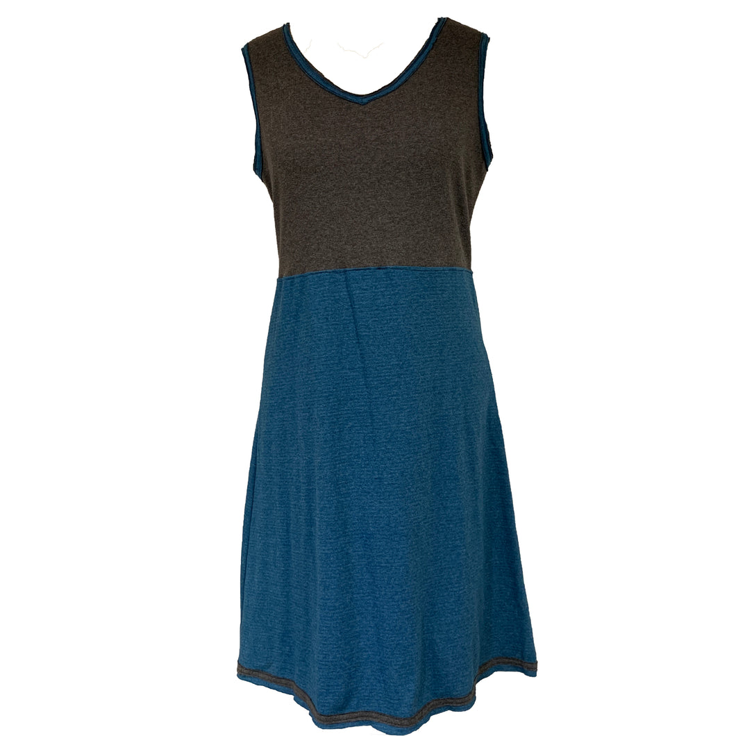 Simple Dress-Charcoal Grey & Teal