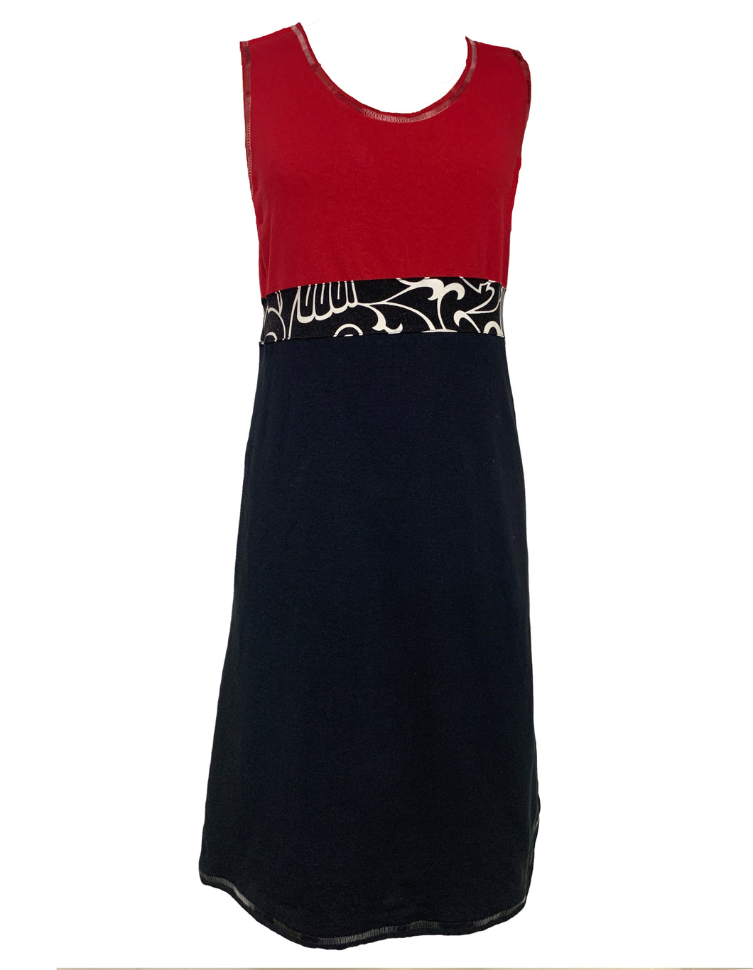 Simple Dress-Red & Black with Swirl Waist