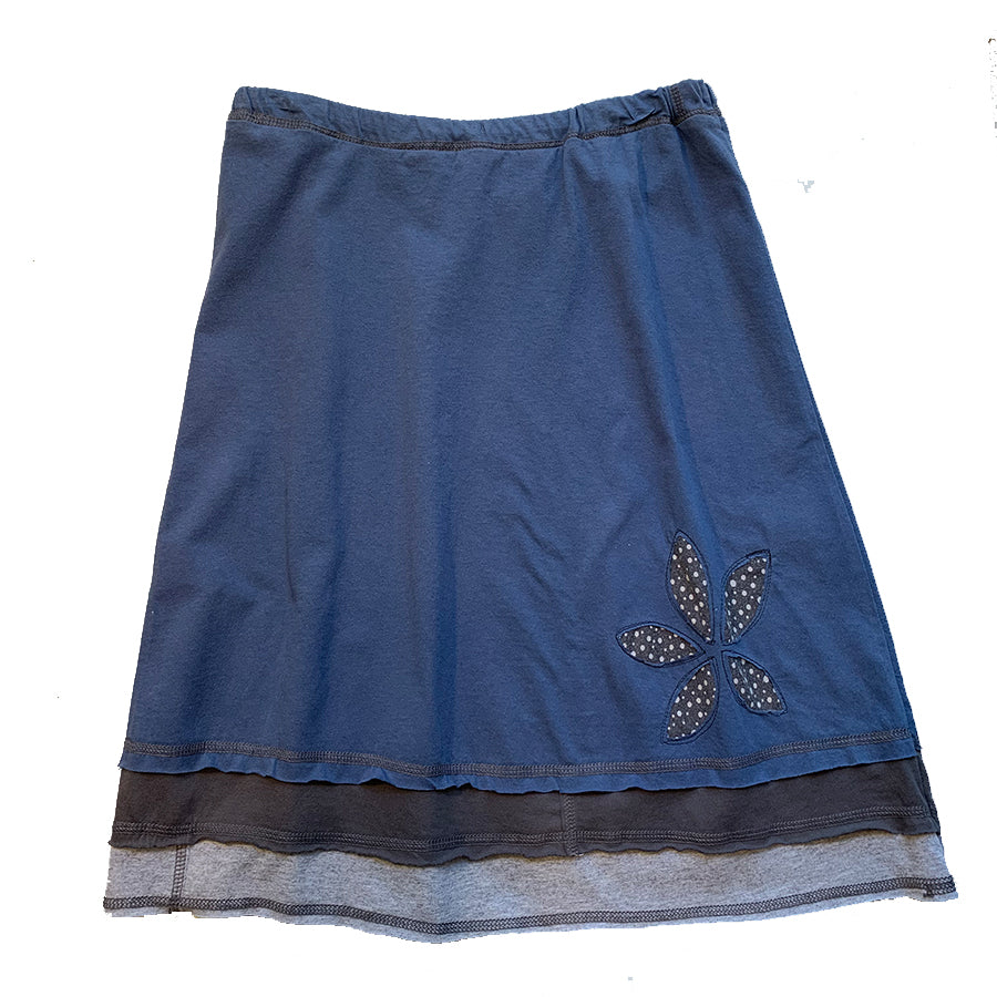 Three Layer Appliqué Skirt-Blue