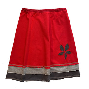 Three Layer Appliqué Skirt-Red