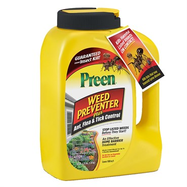 Preen Weed Preventer Plus Ant, Flea & Tick Control (Covers 1,000 sq ft)