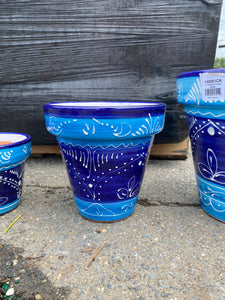 Blue and White Painted Decorative Pot  (6in)