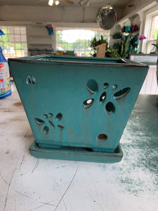 Poetic Orchid Pot (teal) (8in)