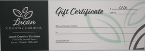 Gift Certificates: $10 up to $150