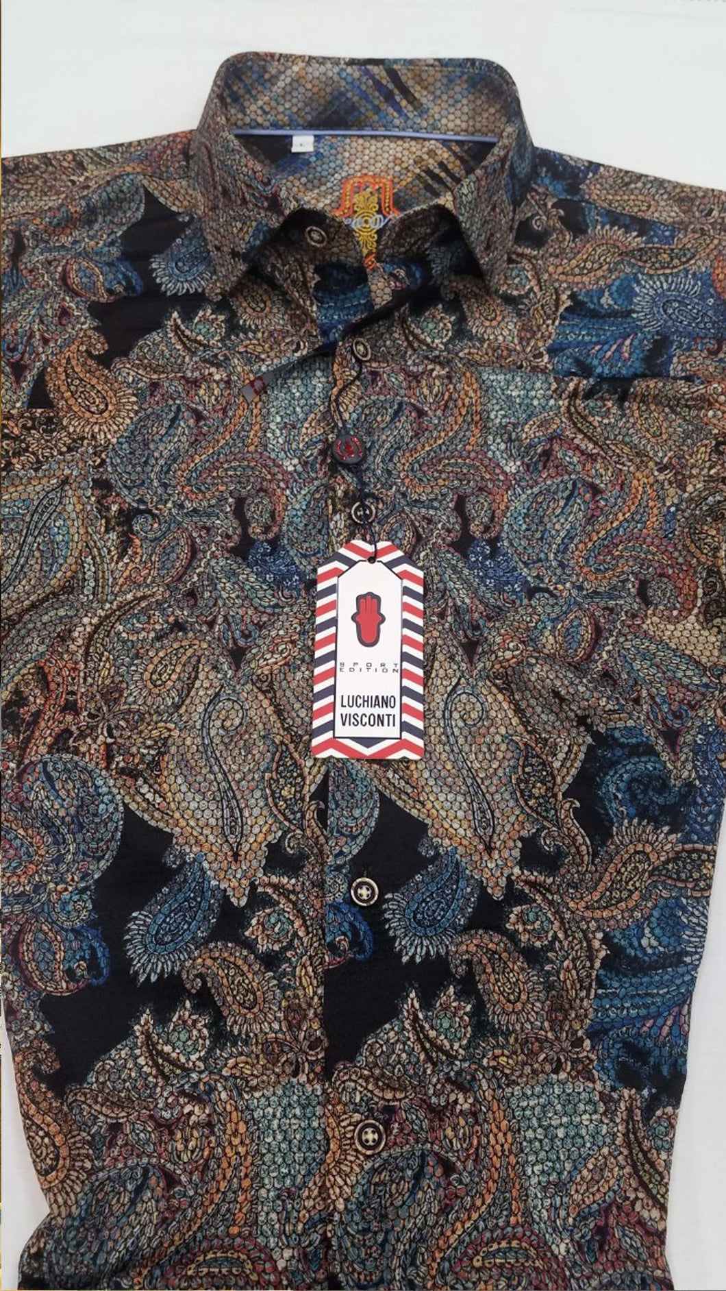 Luchiano Visconti - Brown Short Sleeve - Paisley Jacquard Knit