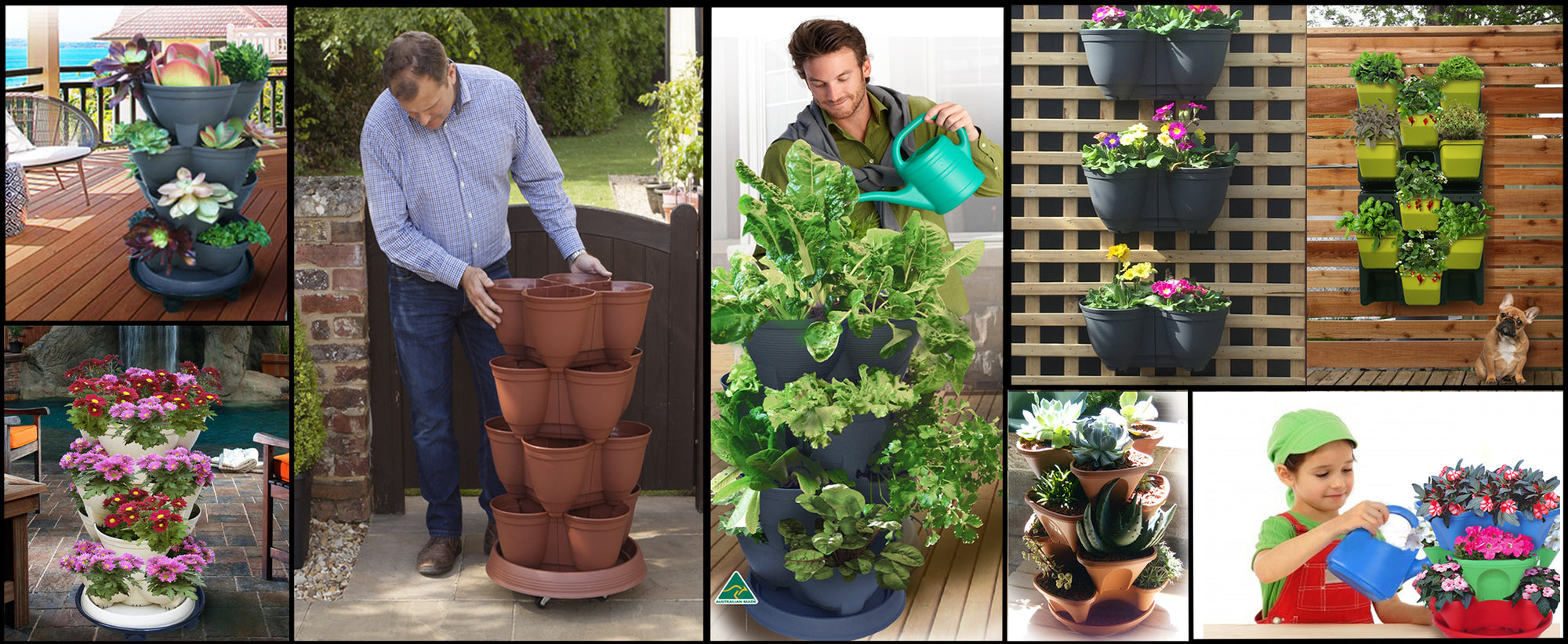Stackapots provide a range of Stackable Pots and Planters for Vertical Gardening. Vertical Gardens of Stackable pots, Wall Planters, Post Planters and Hanging Planters made here in Australia. They will accept  self-watering or Hydroponic systems