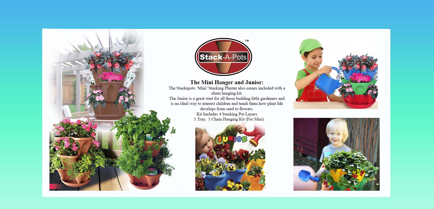 Stackapots Hanging Vertical Garden that that is a popular free standing Kids Stacking Planter in bright colours A perfect Strawberry Pot, Cacti Planter or an attractive Flower Tower and a must have addition to our range of Vertical Garden Planters.