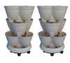 Stackapots 'Maxi' Stacking Tubs TWIN PACK with Trolleys and Free Postage