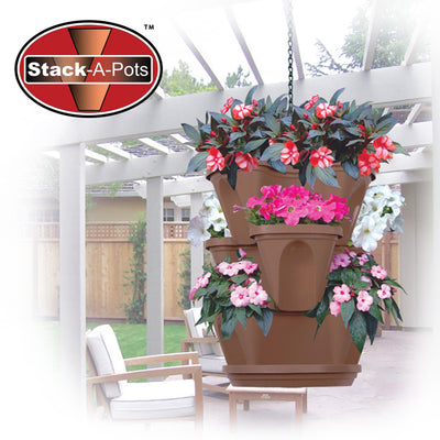 Stack-A-Pots 'Mini' Stackable Planter & Hanger with Free Post