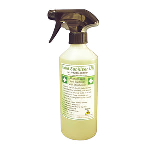 HS70 - Hand Sanitiser 70% alcohol - 500ml Trigger Spray Bottle - Anti Bacterial with Moisturiser