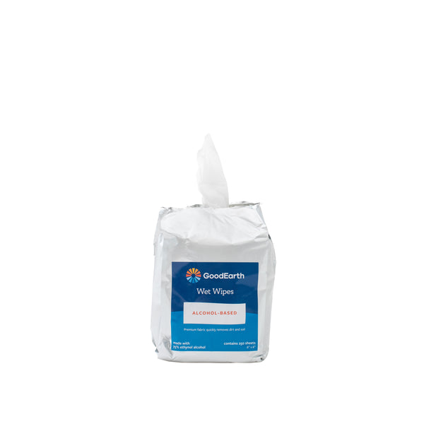 GoodEarth 75% Ethanol Alcohol-Based Antibacterial Wet Wipes Refill Bags- 1500 Total Wipes (250 sheets per bag; 6 bags per case)