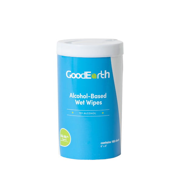 GoodEarth 75% Ethanol Alcohol-Based Antibacterial Wet Wipes Canisters - 1200 Total Wipes (100 wipes per canister; 12 canisters per case)