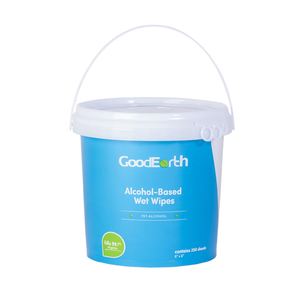 GoodEarth 75% Ethanol Alcohol-Based Antibacterial Wet Wipes Bucket - 1500 Total Wipes (250 sheets per bucket; 6 buckets per case)