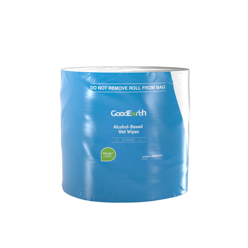 GoodEarth 75% Ethanol Alcohol-Based Antibacterial Wet Wipes Roll - 3200 Total Wipes (800 wipes per roll; 4 rolls per case)