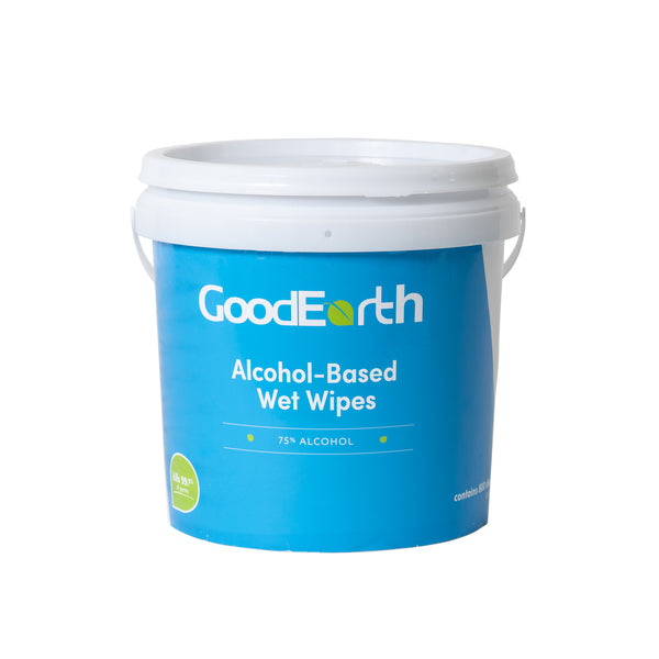 GoodEarth 75% Ethanol Alcohol-Based Antibacterial Wet Wipes Bucket - 3200 Total Wipes (800 wipes per bucket; 4 buckets per case)