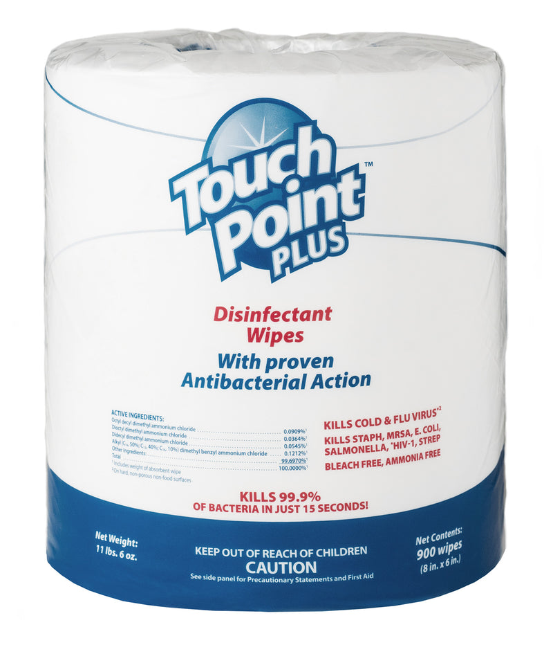 Touchpoint Plus Disinfectant Wipes - 1800 Total Wipes (900 Wipes per roll; 2 rolls per case)