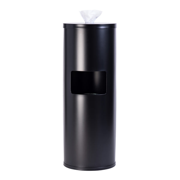 GoodEarth Black Stainless Steel Floor Stand Wipe Dispenser with Built-in Trash Receptacle Media