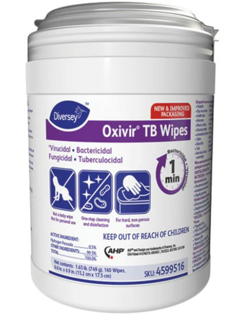 Oxivir Tb Wipes - 1920 Total Wipes (160 wipes per canister; 12 canisters per case)