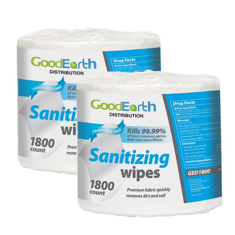 GoodEarth Sanitizing Wipes (1800 wipes per roll; 2 rolls per case)
