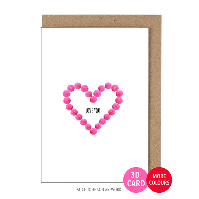Love You Heart (pom-pom) by Alice Johnson Artwork