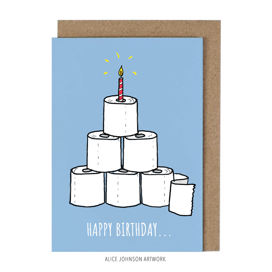 Happy Birthday Loo Rolls (Blue) Greeting Card by Alice Johnson Artwork