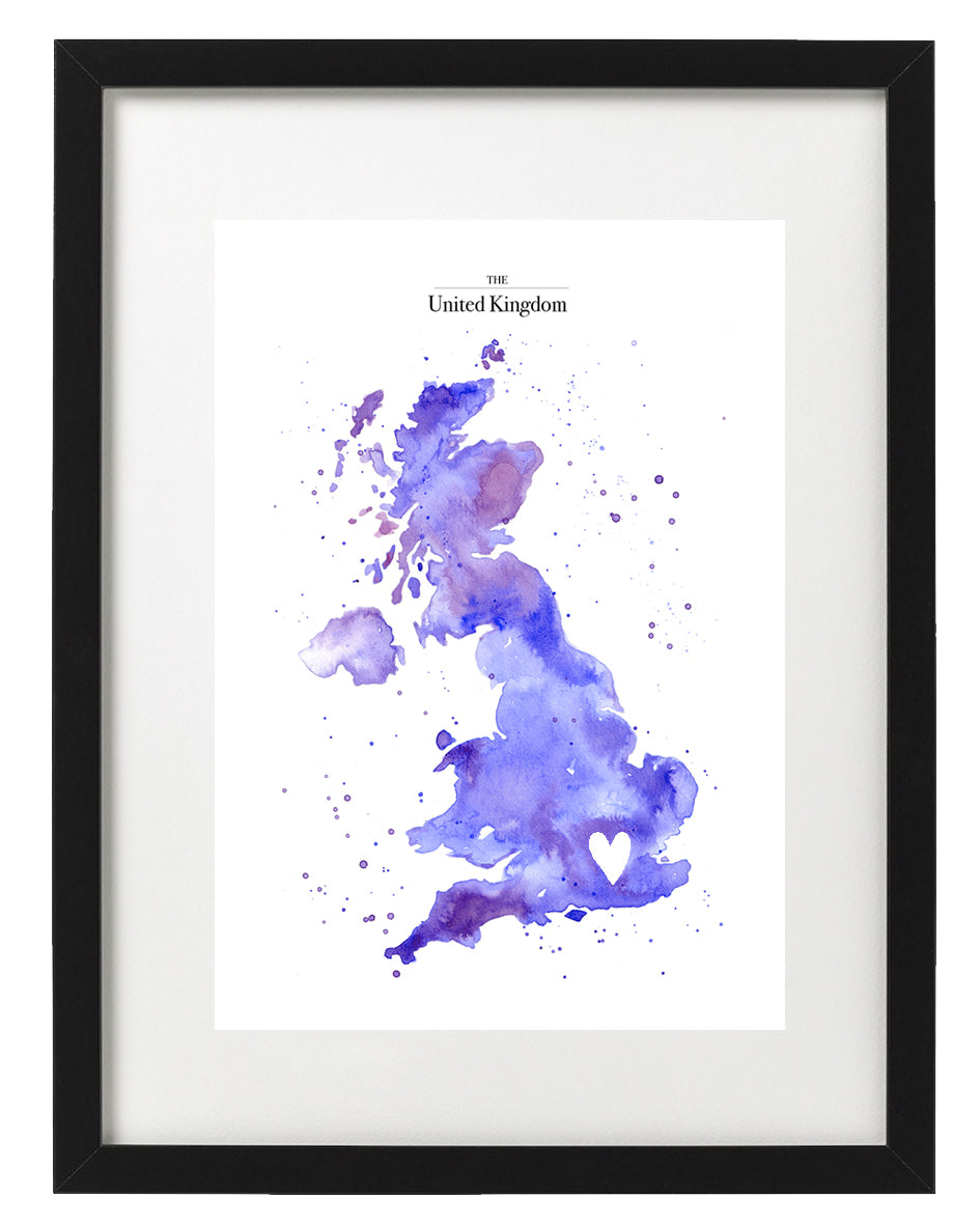 'London' UK Watercolour Map Fine Art Print By Alice Johnson Artwork.
