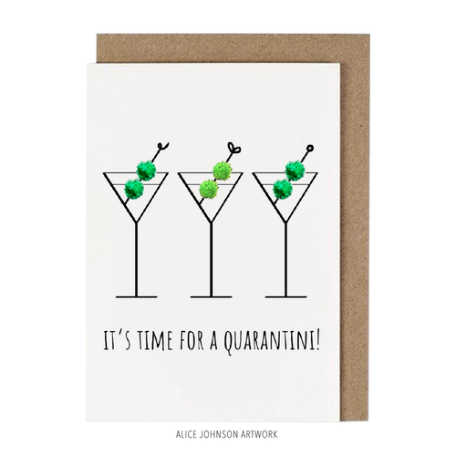It's Time For A Quarantini Greeting Card by Alice Johnson Artwork