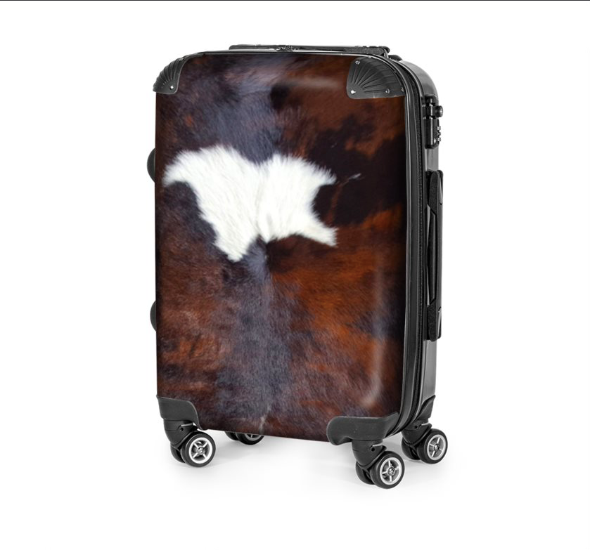 TRI-COLOR EXOTIC COWHIDE LUGGAGE