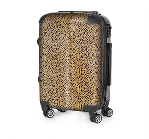 CHEETAH ON CARAMEL COWHIDE LUGGAGE