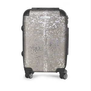 WHITE & SILVER METALLIC COWHIDE LUGGAGE