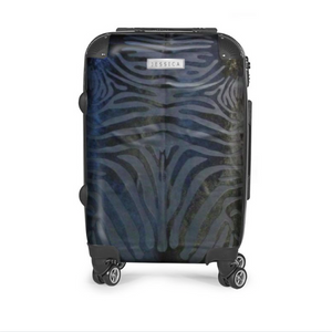 BLACK ON BLACK ZEBRA COWHIDE LUGGAGE