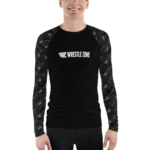WrestleZone - Black Camo with Logo | Men's Rash Guard  - WZ-Merch