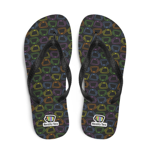 Reality Tea - Colorful Pattern on Black | Flip-Flops - RT-Merch