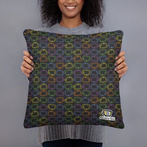 Reality Tea - Colorful Pattern on Black | Pillow - RT-Merch