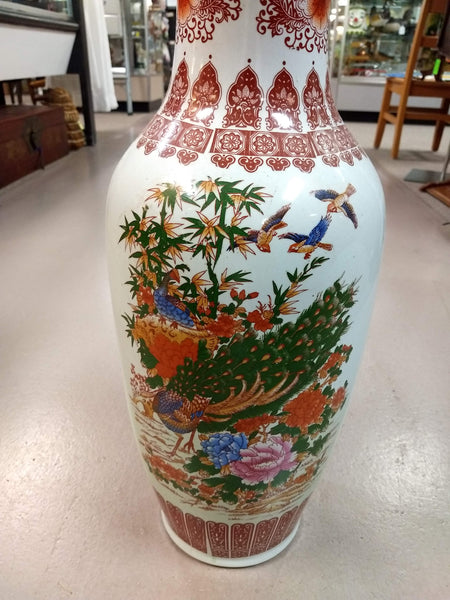 Peacock and Mum Motif Standing Chinese Vase