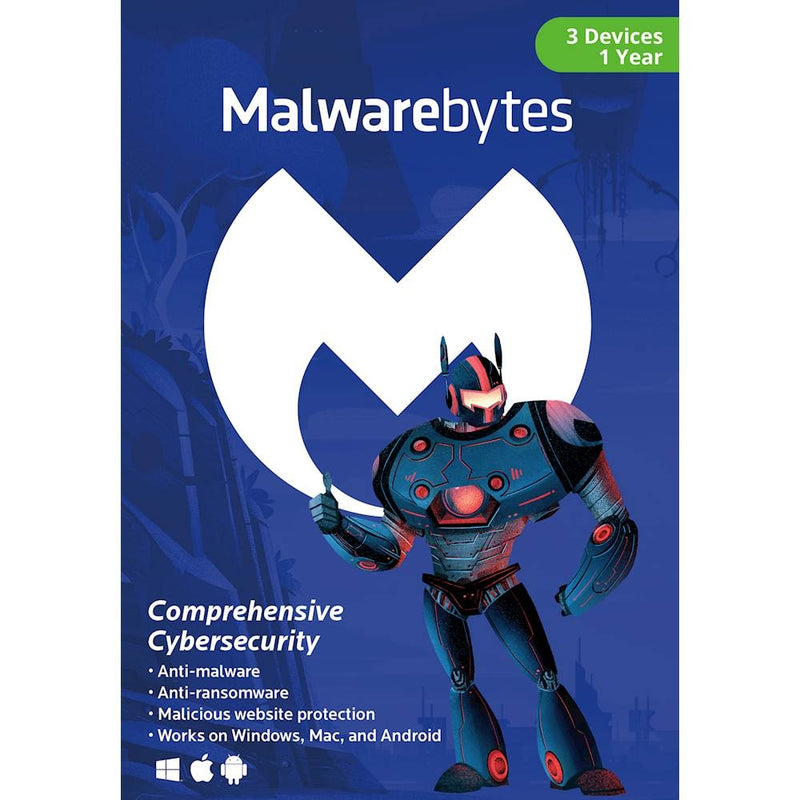Malwarebytes Premium for 3 Devices (1 Year) - Retail Box